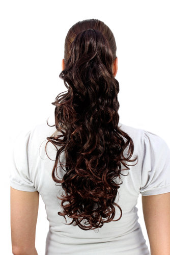Hairpiece PONYTAIL medium length curls Chestnut Brown Brunette Mix (C128 Colour 2T33) Extension