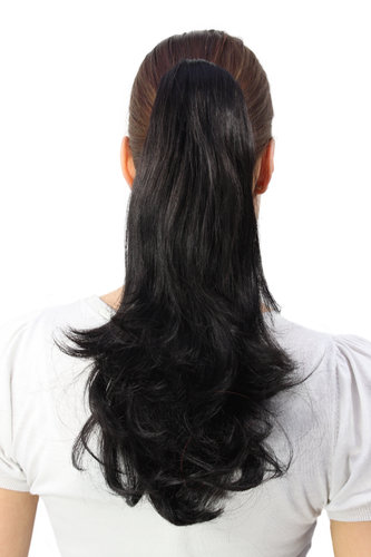 Hairpiece PONYTAIL medium length straight BLACK (T400 Colour 2) pigtail extension