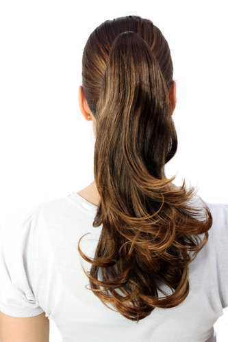 Hairpiece PONYTAIL medium length straight MIXED BRUNETTE (T400 Colour 2T30) brown mixed
