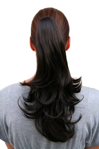 Hairpiece PONYTAIL medium length straight DARK BROWN (T400 Colour 3) Extension