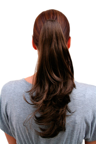 Hairpiece PONYTAIL medium length straight, wavy ends BROWN (T400 Colour 8) brunette Extension