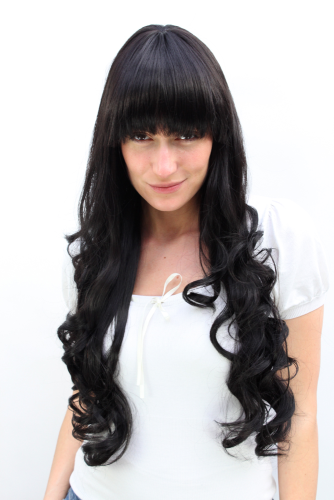 Very LONG Lady Quality Wig BLACK curled ends Fringe BANGS (3116 Colour 2)