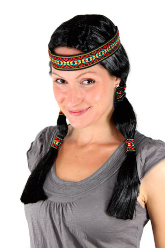 Party/Fancy Dress WIG with headband (not fixed to wig) & braids INDIAN woman Native American squaw