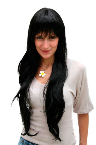 VERY LONG Lady QUALITY Wig straight BLACK bangs fringe (6311 Colour 1B)