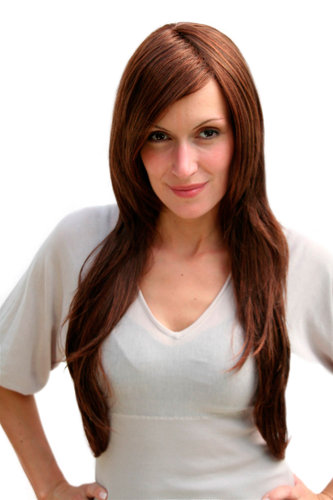 BREATHTAKING brunette LADY Quality WIG very long BROWN straight SEXY PARTING (3110 Colour 340B)