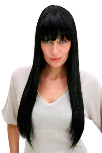 GOTHIC Lady QUALITY Wig VERY LONG raven black FRINGE bangs SEDUCTIVE (3113 Colour 1B)