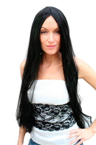 Party/Fancy Dress Wig Man Woman Unisex SUPER LONG & BLACK straight middle parting Goth 80cm