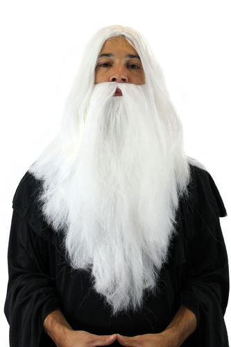 Party/Fancy Dress/Halloween LONG Beard & WIG set WHITE WIZARD SORCERER SANTA CLAUS Cosplay Roleplay