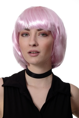 Party/Fancy Dress/Halloween Lady WIG Bob fringe full short BRIGHT PINK disco COSPLAY