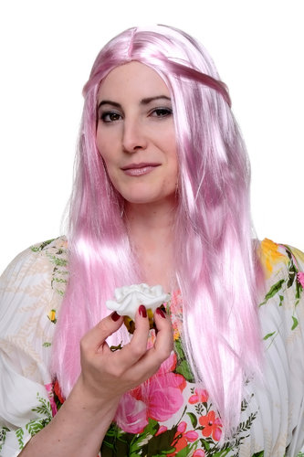 Party/Fancy Dress/Halloween Lady WIG long PINK disco fairy GOOD WITCH sexy middle parting