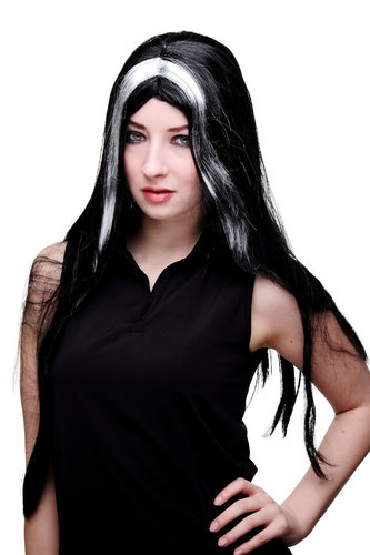 Party/Fancy Dress Lady WIG long MIDDLE PARTING BLACK & White/grey sexy Witch VAMP VAMPIRE MORTICIA