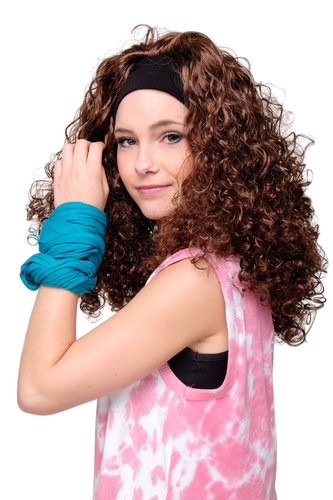 Party/Fancy Dress LATIN CARIBBEAN Vamp Lady WIG with headband (fixed to wig) BROWN CURLY curls