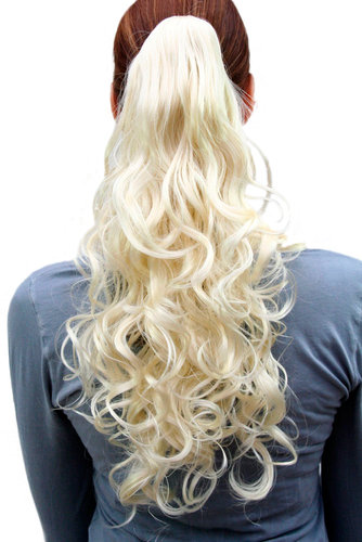 C-128-613 Hairpiece PONYTAIL medium length curls PLATINUM BLOND Butterfly-Claw/Clamp 18""