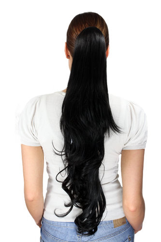 Ponytail/Extension BLACK 1B very long, slightly wavy 70 cm Butterfly CLAMP/Claw Grip
