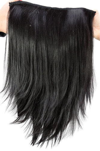 WIG ME UP ® Hairpiece Halfwig (half wig) 7 Microclip Clip-In Extension straight long black H9514-2
