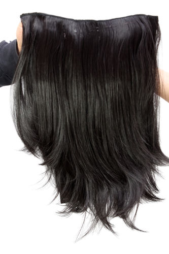 WIG ME UP ® Hairpiece Halfwig (half wig) 7 Microclip Clip-In Extension straight long black H9515-2