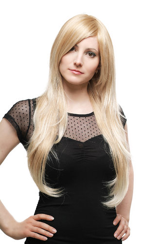 Long Lady Fashion Quality Wig mixed BLOND blond strands Side Parting straight 70 cm Peluca