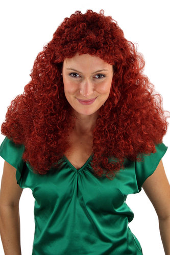 Party/Fancy Dress WIG Men Women Unisex RED long curly super voluminous MULLET Heavy Metal Glam Rock