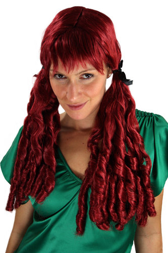 Party/Fancy Dress Lady WIG long 2 Plaids BRAIDS pigtails COILED red Gothic Baroque COLONIAL Pirate