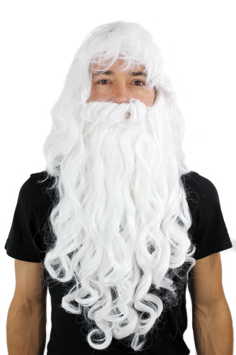 Party/Fancy Dress LONG Beard & WIG set WHITE curly WIZARD SORCERER SANTA CLAUS Cosplay Roleplay