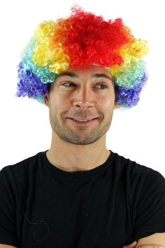 Party/Fancy Dress/Halloween WIG AFRO style CLOWN very curly COLOURFUL volume PW0179