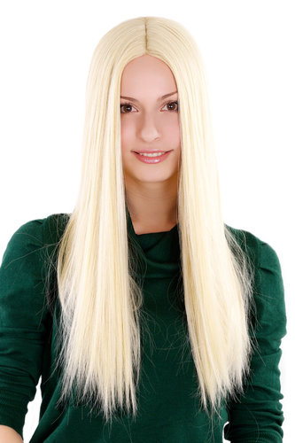 ANGELIC high quality LADY WIG bright platinum BLOND middle parting STRAIGHT falling 3254-KB88 55 cm