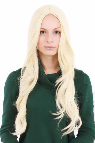 LONG Lady Fashion Wig Bright Platinum Blonde Parting in the Middle 3256-KB88 Cosplay Peluca