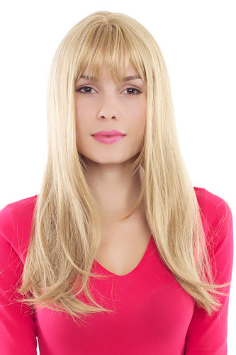 Sexy fashionable Lady Wig STRAIGHT medium BLOND /w FRINGE GFW88-24B 60 cm LONG Cosplay Peluca Pruik