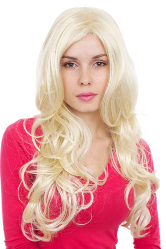 Perücke, lang, Locken, blond, GFW999-613