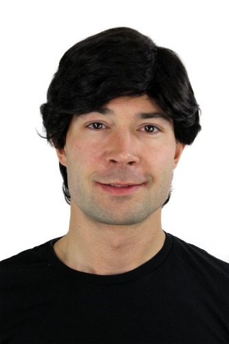 Men's WIG (for Men or Unisex) HIGH QUALITY synthetic BLACK short classic confident parting Man