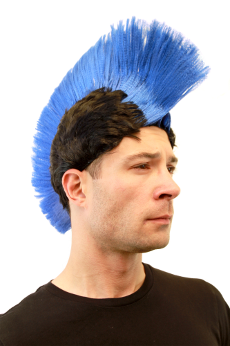 Party/Fancy Dress/Halloween MOHAWK Punk Blue on Black LM-420-P103/PC3 ANARCHY in the UK