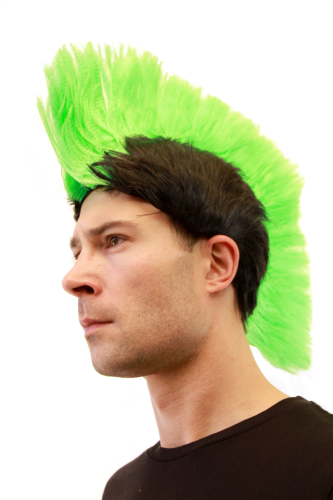 Party/Fancy Dress/Halloween MOHAWK Punk NEON GREEN on Black LM-420-P103/PC3 ANARCHY in the UK