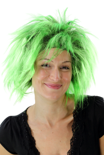 Party/Fancy Dress Lady WIG wild retro 80ies BLACK & NEON GREEN mixed strands streaked Drag Queen