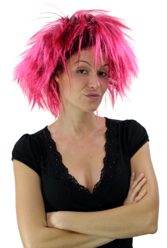 Party/Fancy Dress Lady WIG wild retro 80ies BLACK and PINK mixed spiny strands streaked Drag Queen