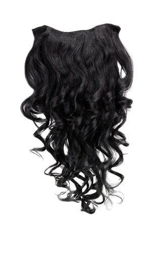 Hairpiece Halfwig 7 Microclip Clip In Extension VERY long BEAUTIFUL curls curled curly BLACK