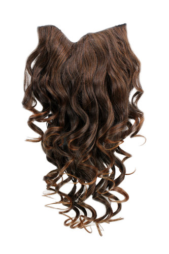Hairpiece Halfwig 7 Microclip Clip In Extension long BEAUTIFUL curls curled BROWN strands CHESTNUT