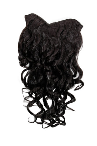 Hairpiece Halfwig 7 Microclip Clip In Extension long BEAUTIFUL curls curled curly DARK BROWN