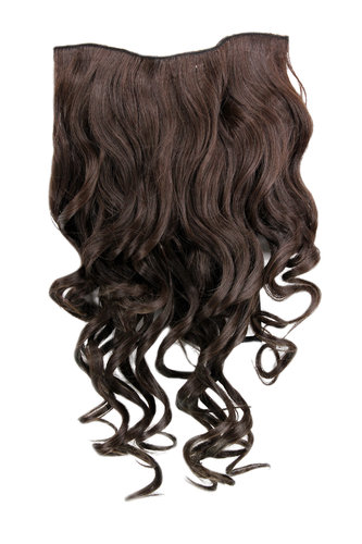 Hairpiece Halfwig 7 Microclip Clip In Extension VERY long BEAUTIFUL curls curled curly BROWN