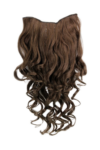 Hairpiece Halfwig 7 Microclip Clip In Extension long BEAUTIFUL curls curled curly BROWN brunette