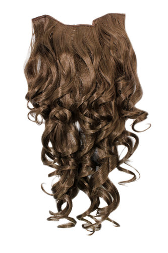 Hairpiece Halfwig 7 Microclip Clip In Extension long BEAUTIFUL curls curled curly LIGHT BROWN