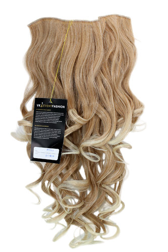 Hairpiece Halfwig 7 Microclip Clip In Extension long BEAUTIFUL curls curled MIXED BLOND & platinum