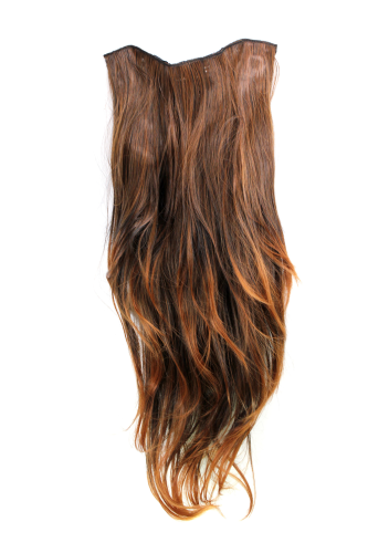 Hairpiece Halfwig 7 Microclip Clip In Extension long straight slight wave wavy MIXED BROWN redbrown