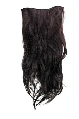 Hairpiece Halfwig 7 Microclip Clip In Extension VERY long straight slight wave wavy DARK BROWN