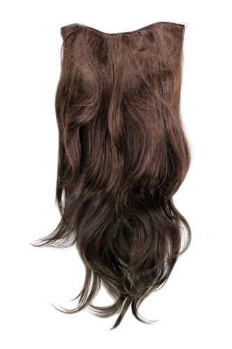 Hairpiece Halfwig 7 Microclip Clip In Extension VERY long straight slight wave wavy BROWN