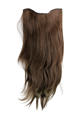 Hairpiece Halfwig 7 Microclip Clip In Extension VERY long straight slight wave wavy BROWN brunette