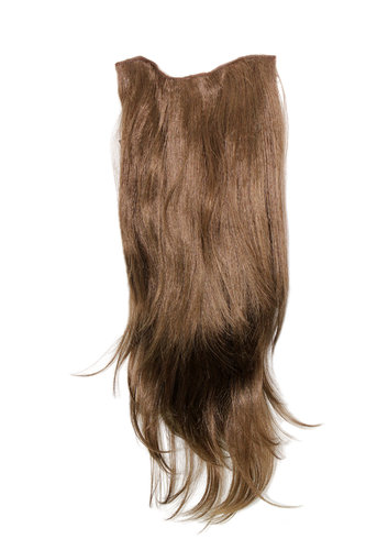 Hairpiece Halfwig 7 Microclip Clip In Extension VERY long straight slight wave wavy light BROWN
