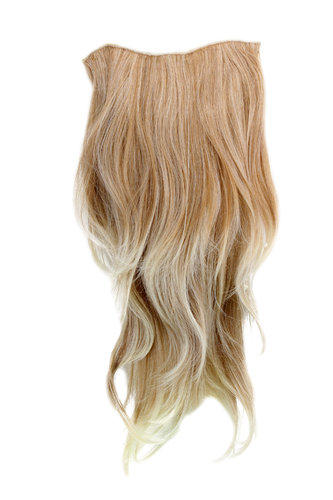 Hairpiece Halfwig 7 Microclip Clip In Extension VERY long straight slight wave wavy MIXED BLOND