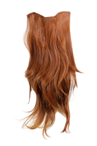Hairpiece Halfwig 7 Microclip Clip In Extension long straight slight wave wavy RED BROWN redbrown