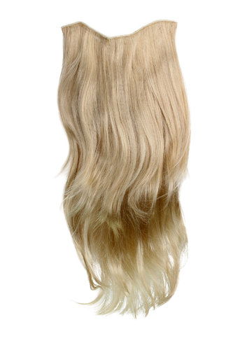 Hairpiece Halfwig 7 Microclip Clip In Extension VERY long straight slight wave wavy BLOND goldblond