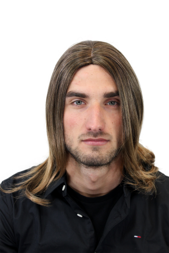 Men's WIG (for Men or Unisex) HIGH QUALITY synthetic straight INDIE MUSICIAN BROWN + BLOND ends